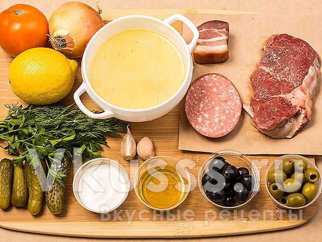 Ингредиенты для приготовления солянки