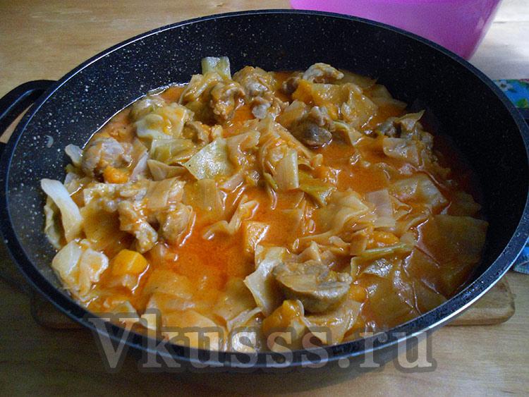 вкусный бигос из свинины капусты и тыквы