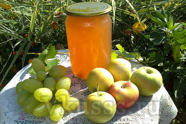 Яблочно-виноградный сок через соковарку на зиму