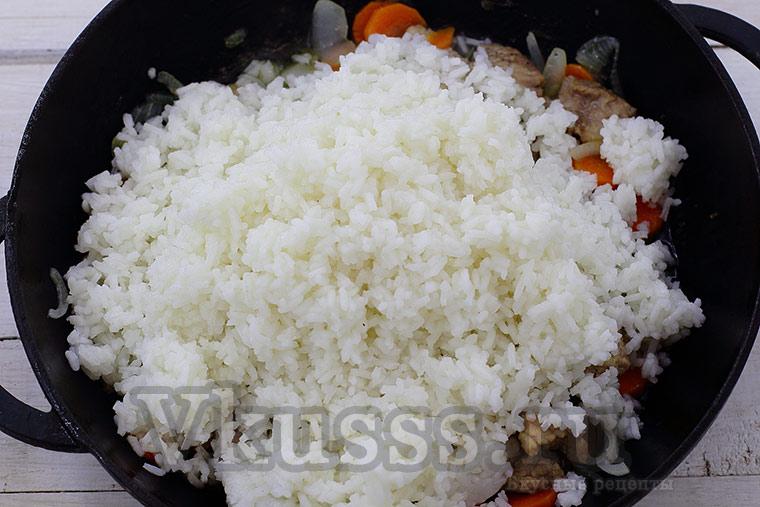 Готовим рис со свининой и овощами