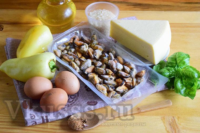 Продукты для салата с мидиями