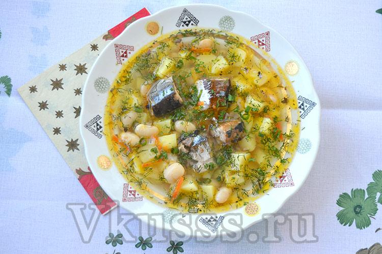 Рыбный супчик с сайрой и белой фасолью