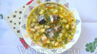 """Вкусный суп из консервов """"Сайры"""" — рецепт по шагам"""
