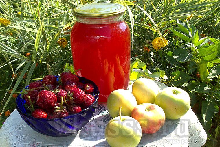 Яблочный сок с клубникой на зиму