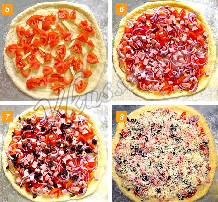 рецепт пиццы с колбасой и сыром, помидорами и оливками