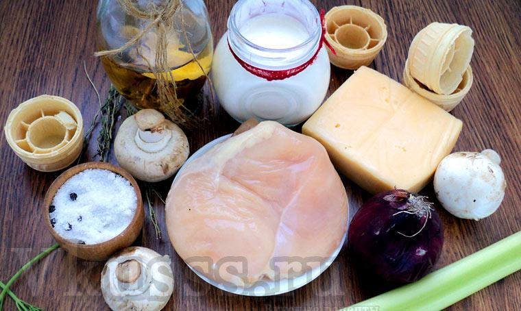Продукты для жульена с курицей и грибами